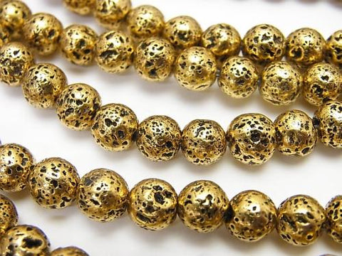 1strand $4.79! Rubber (Lava) Round 6mm Gold Color Coating 1strand (aprx.14inch / 35cm)