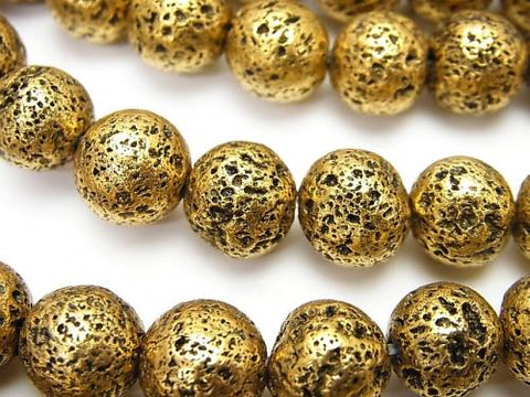 1strand $6.79! Rubber (Lava) Round 10mm Gold Color Coating 1strand (aprx.14inch / 34cm)