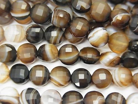 High Quality! 1strand $6.79! Brown Striped Agate Faceted Coin 6x6x4mm 1strand (aprx.15inch / 37cm)