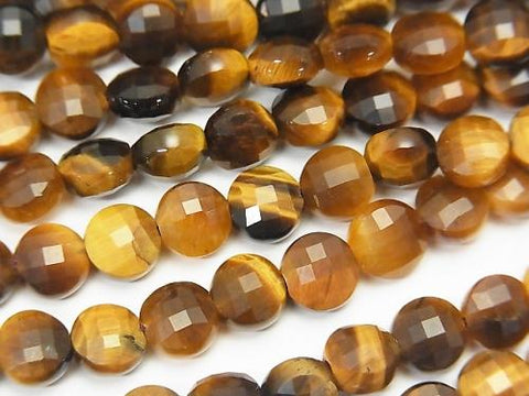 High Quality! 1strand $6.79! Yellow Tiger Eye AA ++ Faceted Coin 6x6x4mm 1strand (aprx.15inch / 37cm)