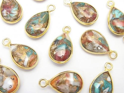 Oyster Copper Turquoise Bezel Setting Pear shape 13x9mm 18KGP 4pcs $12.99