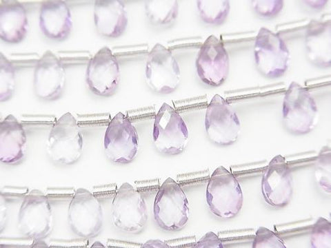 1strand $9.79! High Quality Pink Amethyst AAA Pear shape Faceted Briolette 6x4mm 1strand (25pcs)