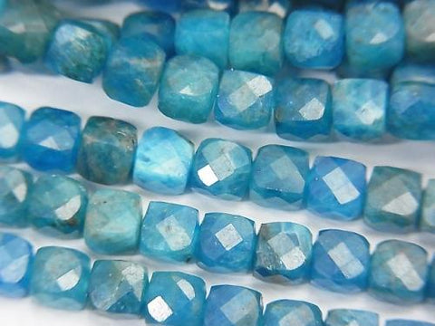 High Quality! 1strand $17.99! Brazil Apatite AA ++ Cube Shape 4.5x4.5x4.5mm 1strand (aprx.15inch / 37cm)