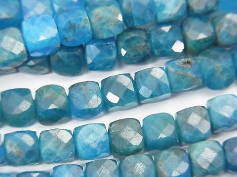 High Quality! Brazil Apatite AA ++ Cube Shape 6x6x6mm half or 1strand (aprx.15inch / 37cm)