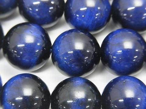 Blue Color Tiger Eye AA ++ Round 14mm half or 1strand (aprx.15inch / 36cm)