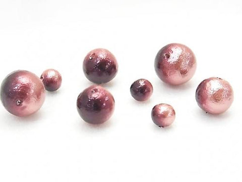 Made in Japan! Cotton Pearl Beads Plum/Cherry Bicolor Round 12mm 10pcs $3.99