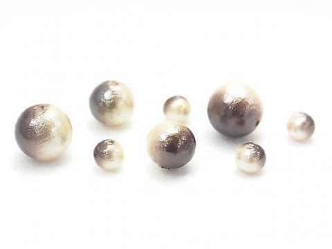 Made in Japan! Cotton Pearl Beads Bronze/Cream Bicolor Round 6mm 20pcs $4.79