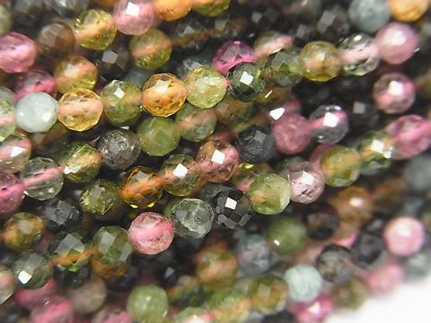 High Quality! 1strand $8.79! Multicolor Tourmaline AA ++ Faceted Round 3mm 1strand (aprx.15inch/37cm)