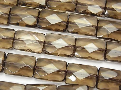 Smoky Crystal Quartz AAA Faceted Rectangle 14x10x6mm half or 1strand (aprx.15inch/37cm)
