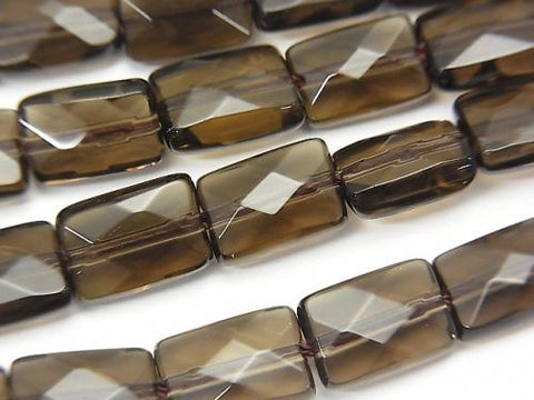 Smoky Crystal Quartz AAA Faceted Rectangle 10x7x4mm half or 1strand (aprx.15inch/37cm)