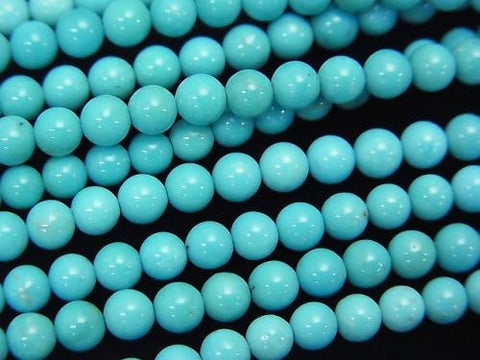 Blue Turquoise AAA- Round 4mm half or 1strand (aprx.15inch / 38cm)