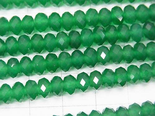 High Quality! 1strand $9.79! Green Onyx AAA Faceted Button Roundel 6x6x4mm 1strand (aprx.15inch / 37cm)
