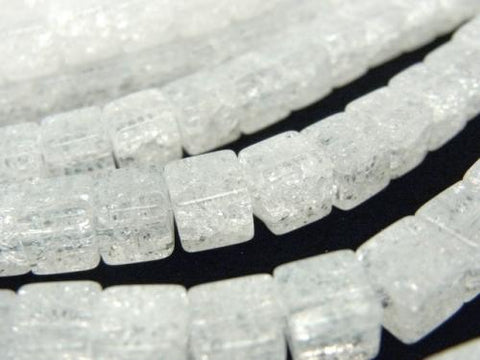 Cracked Crystal  Cube 6x6x6mm half or 1strand (aprx.15inch/38cm)