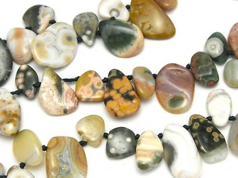 Ocean Jasper Flat Nugget Top Side Drilled Hole half or 1strand (aprx.15inch / 38cm)