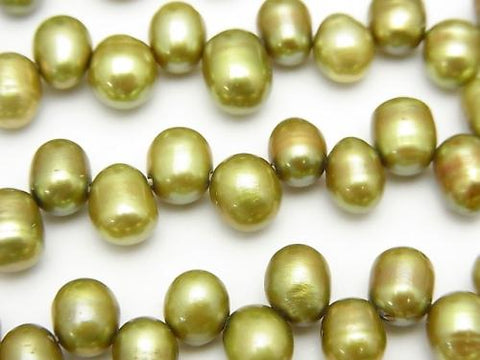 1strand $4.79! Fresh Water Pearl AA Rice 7-8mm Green Top Side Drilled Hole 1strand (aprx.14inch / 34cm)