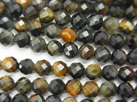 High Quality! 1strand $7.79! Mix Tiger Eye AA ++ Faceted Round 4mm 1strand (aprx.15inch / 38cm)