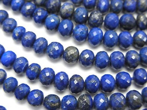 MicroCut!  High Quality Lapislazuli AAA Faceted Button Roundel  half or 1strand (aprx.15inch/38cm)