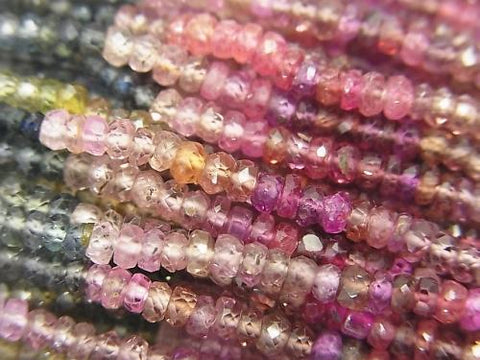 High Quality Multicolor Sapphire AAA Faceted Button Roundel half or 1strand (aprx.13inch / 33cm)