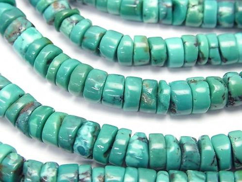 Turquoise AA+ Rough Tube (Roundel )4-6mm half or 1strand (aprx.15inch/38cm)