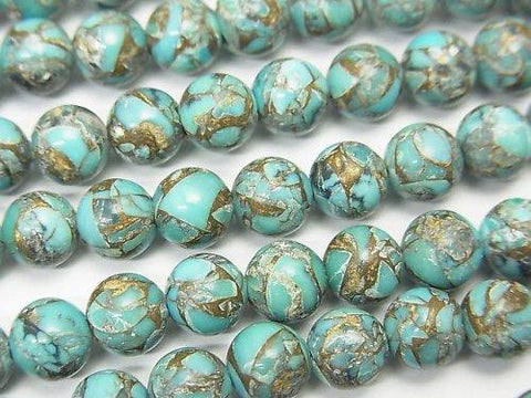 Blue Copper Turquoise AAA Round 6mm half or 1strand (aprx.7inch / 18cm)