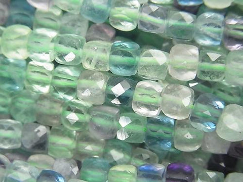 High Quality! 1strand $16.99! Multicolor Fluorite AA ++ Cube Shape 4x4x4mm 1strand (aprx.15inch / 37cm)