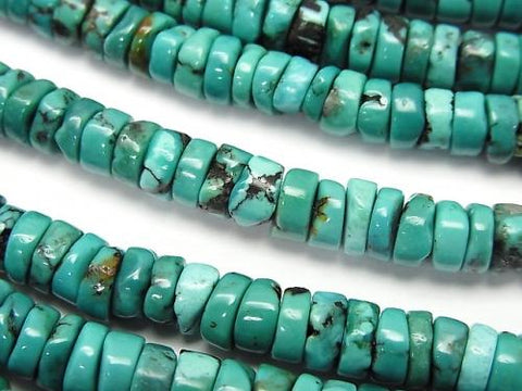 Turquoise AA++ Rough Tube (Roundel )5-6mm half or 1strand (aprx.15inch/38cm)