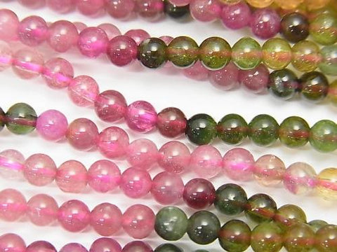 1strand $24.99! High Quality Multicolor Tourmaline AA ++ Round 4mm 1strand (aprx.19inch / 48cm)
