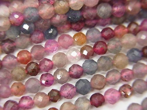 High Quality! Madagascar Multicolor Sapphire AA + Faceted Round 3mm half or 1strand (aprx.15inch / 37cm)