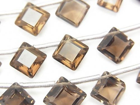 1strand $9.79! High Quality Smoky Crystal Quartz AAA Diamond Faceted 9x9mm 1strand (10pcs )