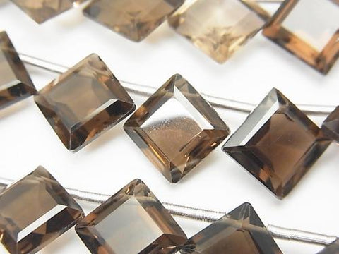 1strand $24.99! High Quality Smoky Crystal Quartz AAA Diamond Faceted 14x14mm 1strand (10pcs )