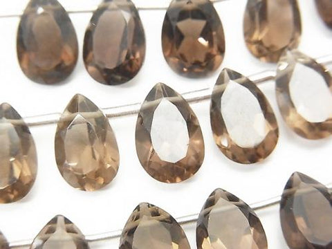 High Quality Smoky Crystal Quartz AAA Pear shape  Faceted 12x8x5mm half or 1strand (18pcs )
