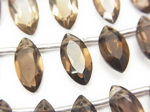 1strand $15.99! High Quality Smoky Crystal Quartz AAA Marquise Faceted 12x6mm 1strand (18pcs )