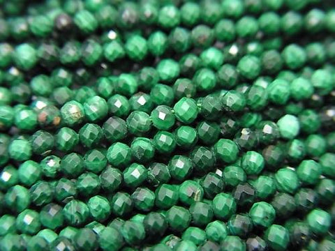 High Quality!  1strand $8.79! Malachite AAA- Faceted Round 2mm  1strand (aprx.15inch/36cm)