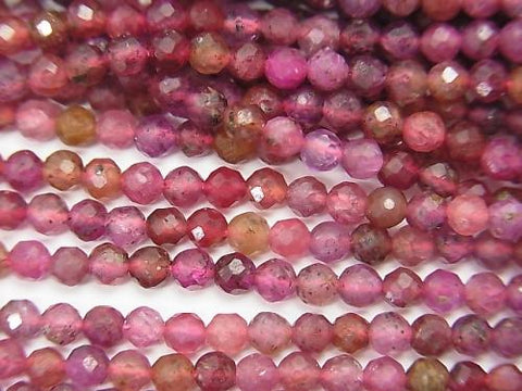 High Quality! 1strand $18.99! Madagascar Ruby AA + Faceted Round 3mm 1strand (aprx.15inch / 37cm)