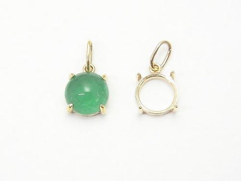 Made in Japan! K10YG Pendant Frame (Bezel) for Round Cabochon 6mm 1pc $29.99!