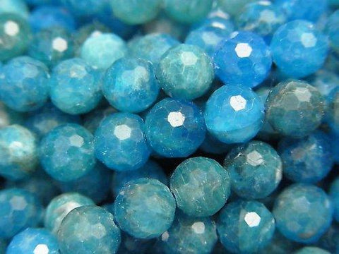 High Quality! 1strand $16.99! Blue Apatite AA ++ 128Faceted Round 6.5mm 1strand (aprx.15inch / 37cm)