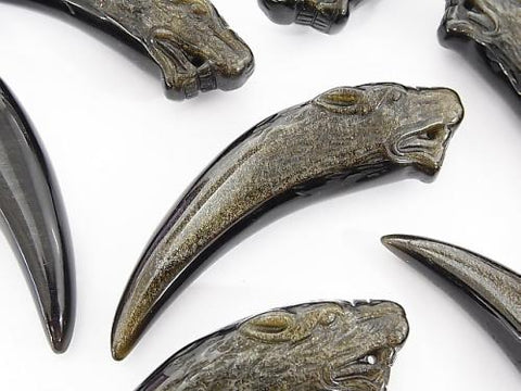 1pc $9.79! Mexico Golden Shine Obsidian AAA Wolf  Fang Shape 1pc