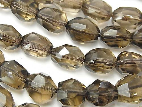 1strand $11.79! High Quality Smoky Crystal Quartz AAA- Faceted Nugget  1strand (aprx.15inch/36cm)