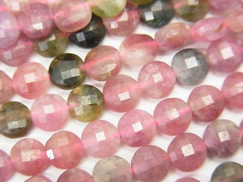 High quality! 1strand $13.99! Multicolor Tourmaline AA + Faceted Coin 5x5x3mm 1strand (aprx.15inch / 37cm) - kenkengems.com