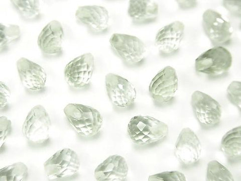 High Quality Green Amethyst AAA Half Drilled Hole Faceted Drop 6x4mm 6pcs $3.79!