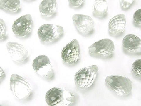 High Quality Green Amethyst AAA Half Drilled Hole Faceted Drop 9x6mm 4pcs $8.79!