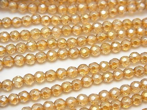 1strand $9.79! Champagne Color Quartz AAA 32Faceted Round 4mm 1strand (aprx.15inch / 37cm)