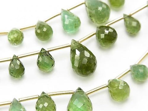 1strand $127.99! High Quality Green Tourmaline AAA Drop Faceted Briolette 1strand (aprx.6inch / 16cm) - kenkengems.com
