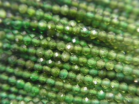 High Quality! 1strand $14.99! High Quality Green Tourmaline AAA Faceted Round 2mm 1strand (aprx.13inch / 32cm) - kenkengems.com