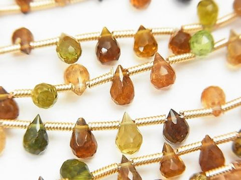 1strand $13.99! High Quality Brown Green Tourmaline AAA Drop Faceted Briolette 1strand (aprx.7inch / 18cm) - kenkengems.com