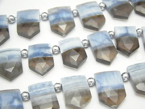 1strand $29.99! Striped Blue Opal AA ++ Deformed Pentagon Faceted Briolette Top Side Drilled Hole 1strand (aprx.7inch / 18cm) - kenkengems.com