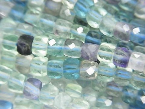 High Quality! Multicolor Fluorite AA + Cube Shape 4x4x4mm half or 1strand (aprx.15inch / 37cm)