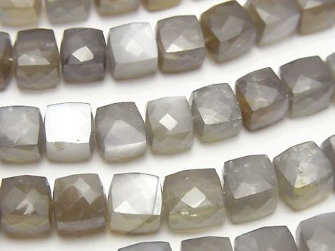 High Quality Gray Moon Stone AA ++ Cube Shape half or 1strand (aprx.7inch / 18cm)