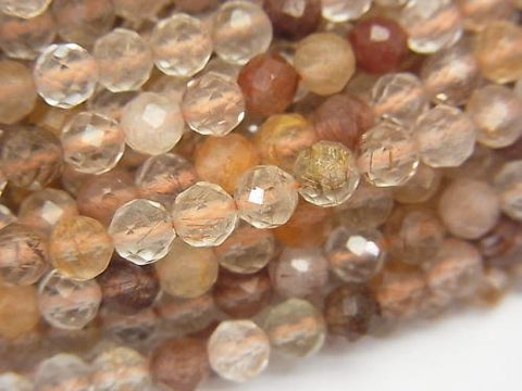High Quality! 1strand $6.79! Bronze Rutilated Quartz AA Faceted Round 4mm 1strand (aprx.15inch / 37cm)