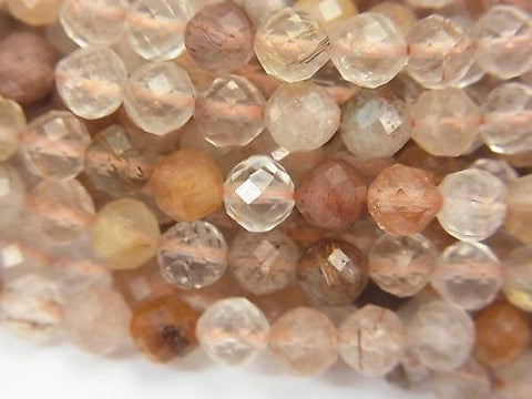 High Quality! 1strand $7.79! Bronze Rutilated Quartz AA Faceted Round 5mm 1strand (aprx.15inch / 37cm)